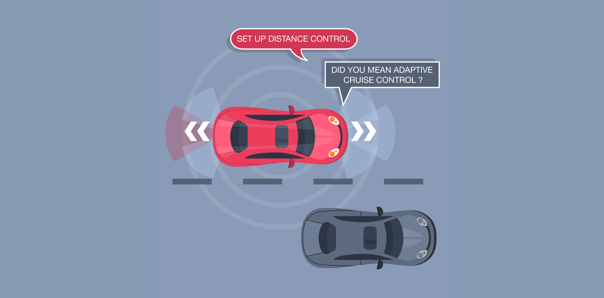 Multimodal conversational agent: Activate distance control. Did you meant activate adaptive cruise control?